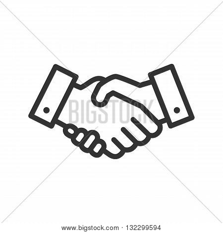 Handshake icon isolated on a white background. Handshake line icon