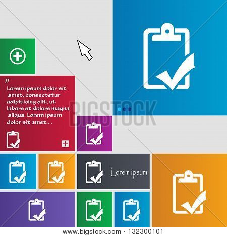 Document Grammar Control, Test, Work Complete Icon Sign. Buttons. Modern Interface Website Buttons W