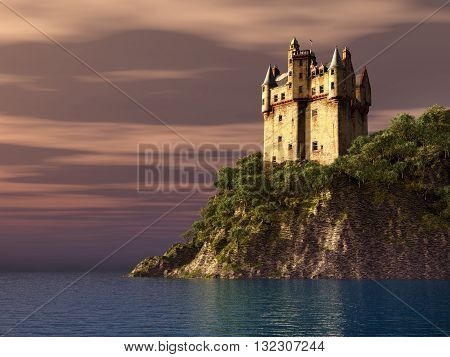 Computer generated 3D illustration with Scottish castle by the sea