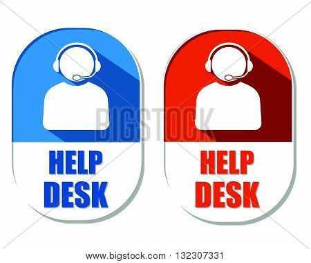 help desk with headset symbol, two elliptic flat design labels with icons, business technical support concept, vector