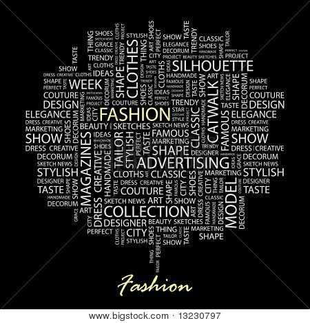 FASHION. Word collage on black background. Vector illustration.