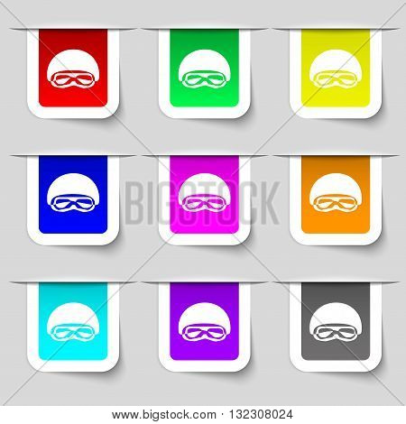 In A Ski Masks, Snowboard Ski Goggles, Diving Mask Icon Sign. Set Of Multicolored Modern Labels For
