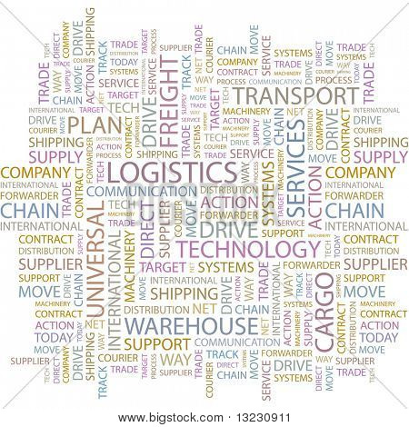 LOGISTICS. Word collage on white background. Vector illustration.