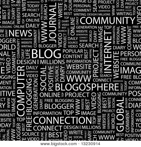 BLOG. Seamless vector background. Wordcloud illustration.