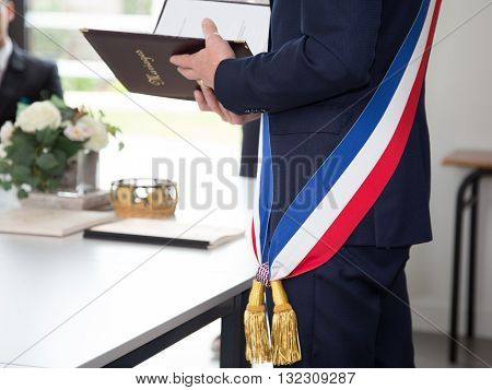 French Mayor With A Scarf Flag During A Weeding Day