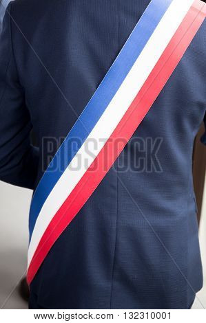 Mayor Of French Town With French Tricolour Flag Mayoral Sash