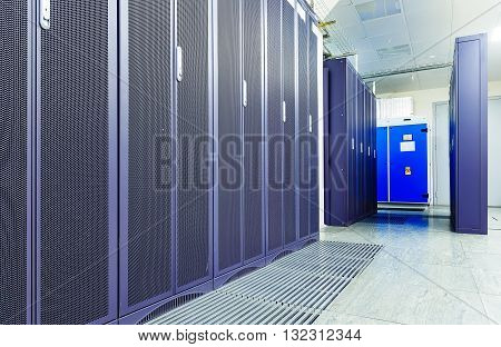 server room with modern communication equipment in data center