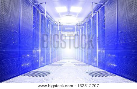 futuristic modern server room in the data center
