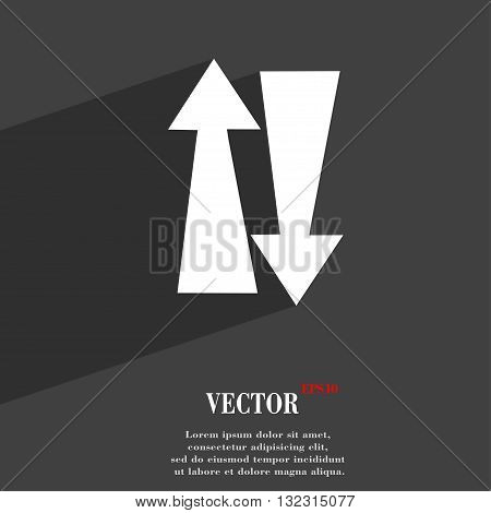 Two Way Traffic, Symbol Flat Modern Web Design With Long Shadow And Space For Your Text. Vector