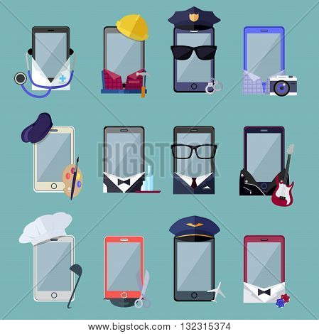 Set of smarphone in costume different professions. Collection of mobile suits chef with a cap, a photographer with a camera, a musician with a guitar, a businessman in glasses. Vector illustration