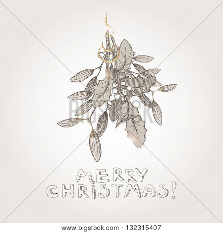 Christmas mistletoe hand drawn sketch. Great for greeting cards, holiday design.
