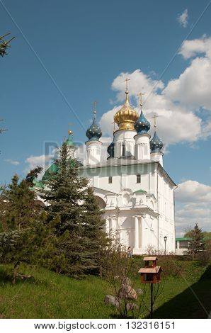 ROSTOV RUSSIA MAY 08. 2016: - Rostov the Great Spaso-Yakovlevsky Dmitriev monastery The Cathedral Of The Conception Of Anne and The Church Of Jacob Of Rostov