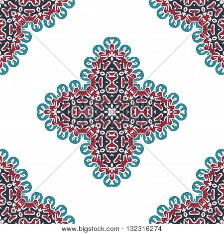 Seamless abstract arabic art background. Damask card. Endless decorative design indian geometric ornament. Persian pattern. Retro textile tile.