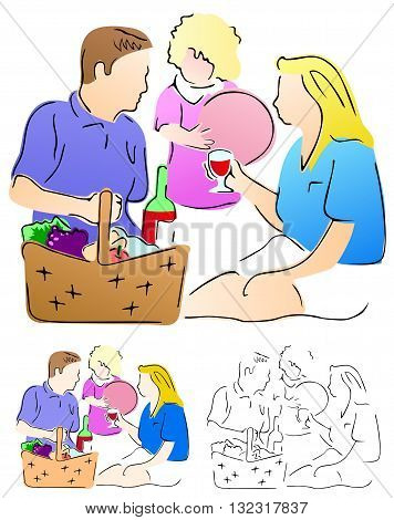 Family having a nice picnic, a relaxing outing for all three