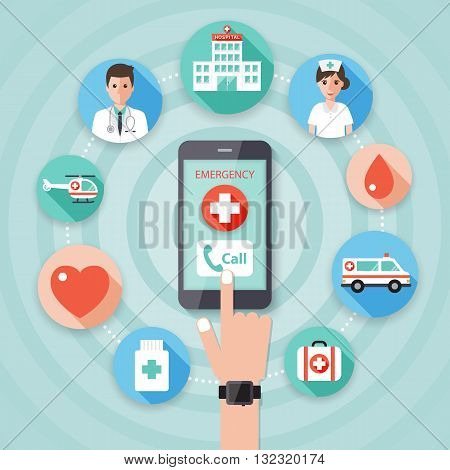 Making an emergency call to the hospital on smart phone with doctor nurse and medical flat design icon set.