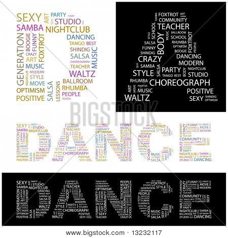 DANCE. Word collage. Vector illustration.