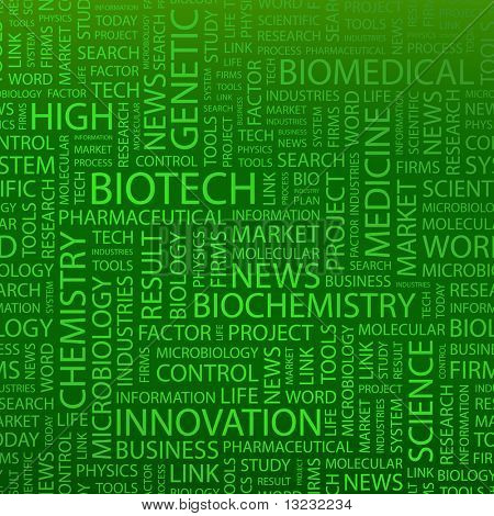 BIOTECH. Word collage. Vector illustration.