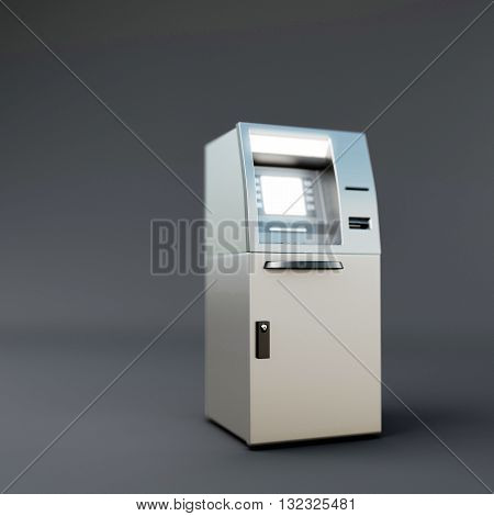 3d illustration of two atm isolated on dark gray background