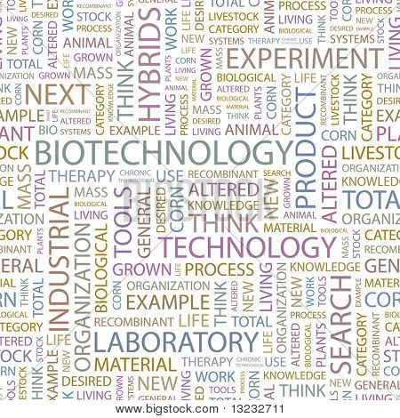 BIOTECHNOLOGY. Seamless vector pattern with word cloud.