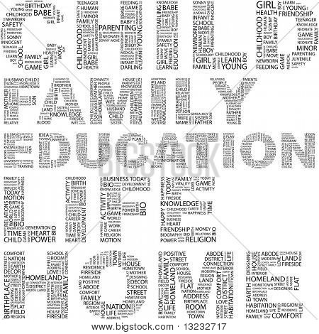 CHILD. Illustration with different terms in white background. Wordcloud illustration.