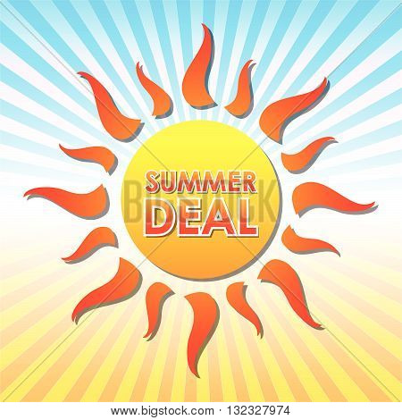 summer deal - text in orange sun over yellow and blue rays, vector