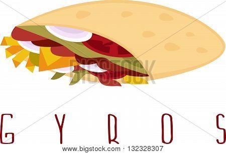 Gyros Shawarma Doner Kabob Isolated Vector Design Template