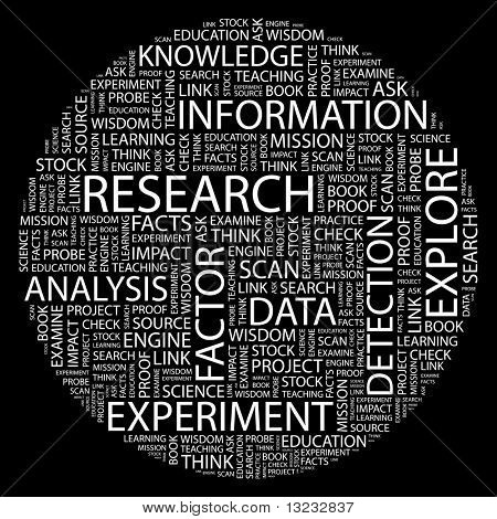 RESEARCH. Word collage on black background. Vector illustration.