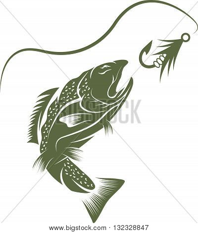 Trout And Lure Fishing Vector Design Template