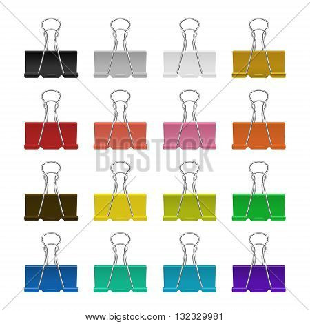 Set of multicolor binder clips, isolated on a white background. Vector EPS10 illustration.