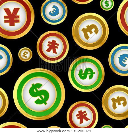 Seamless pattern with dollar, euro, yen and pound signs.