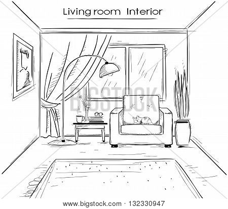 Sketchy Illustration Of Living Room Interior.vector Black Hand Drawing Image