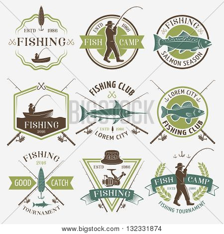 Fishing clubs colorful emblems with man in hat reel hooks rods boat salmon inscriptions isolated vector illustration