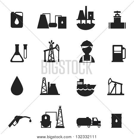 Oil industry black icons set with fuel derivatives use processing and also workers of oil derricks isolated vector illustration