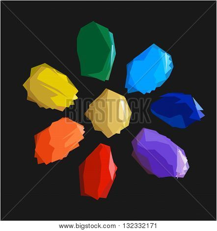 Colorful shiny bright crystals. Red crystal, yellow crystal, green crystal, purple crystal, orange crystal, emerald crystal, ruby crystal, tourmaline crystal, quartz crystal, diamond crystal isolated