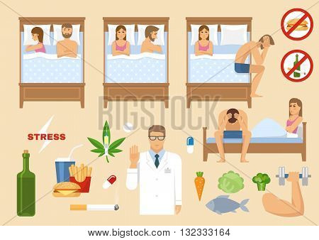 Man problem flat concept various factors cause sexual disorders man and woman in bed vector illustration