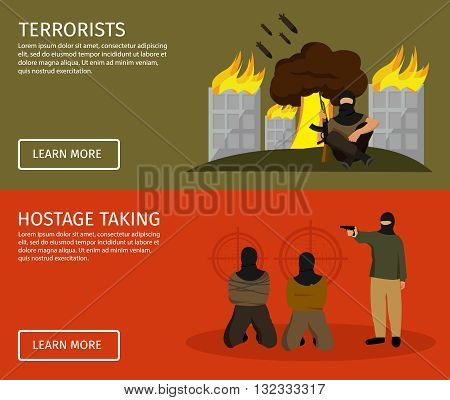 Terrorism flat banner set with buttons and descriptions of terrorist hostage taking vector illustration