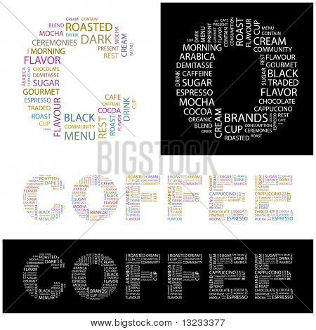 COFFEE. Word collage. Illustration with different association terms.