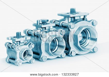 Group 3 valves different sizes ball valve with selective focus on thread fittings