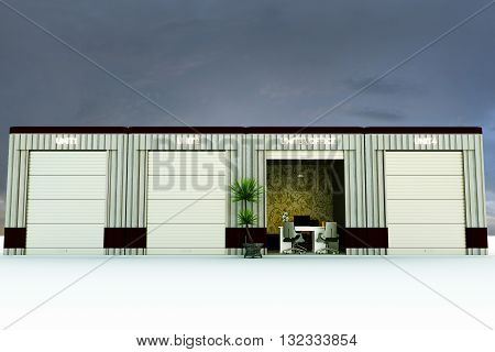3d illustration of a modern self storage office