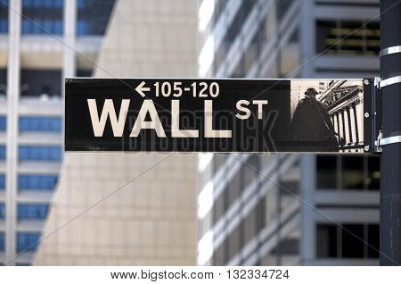 Wall street sign, downtown New York City