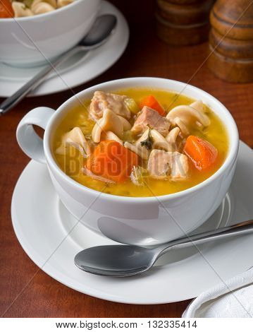 A cup of delicious hearty chicken noodle soup.