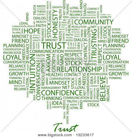 VERTRAUEN. Wort-Collage auf weißem Hintergrund. Abbildung mit verschiedenen Verband Bedingungen.