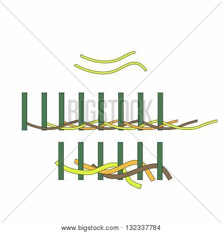 working on a wicker basket. willow basket, process Basketry. Vector illustration