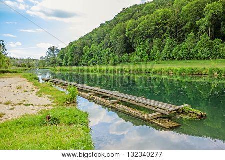 River Brenz canoe / paddling pier near valley Eselsburger Tal - jewel of the swabian alps (Schwaebische Alb)