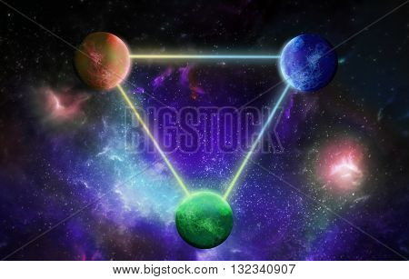 Three planets interrelated lines of light on the cosmic background