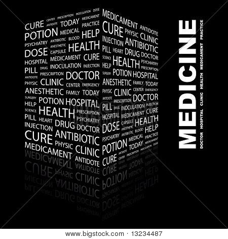 MEDICINE. Word collage on black background. Vector illustration.
