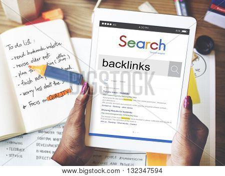 Backlinks Hyperlink Inbound Links Network Internet Concept