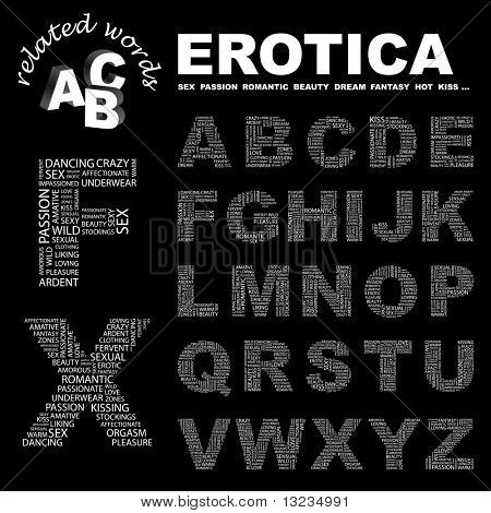 EROTICA. Vector letter collection. Illustration with different association terms.