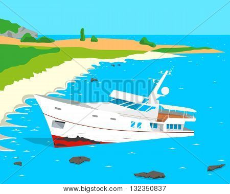 Due to the negligence of the captain of a tourist ship ran aground. Vector illustration