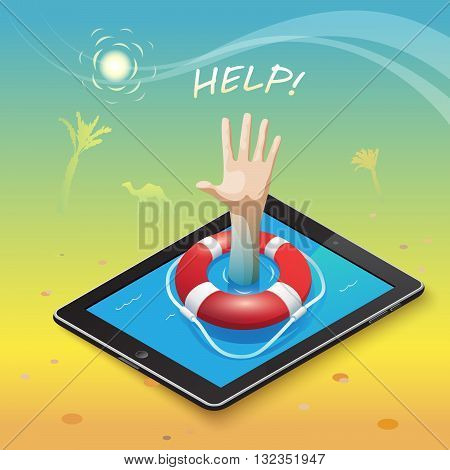 3d isometric mobile web surfer infographics concept. Conceptual illustration of life buoy on a mobile device and a hand gesture for help in the middle of the hot desert into an oasis of information.